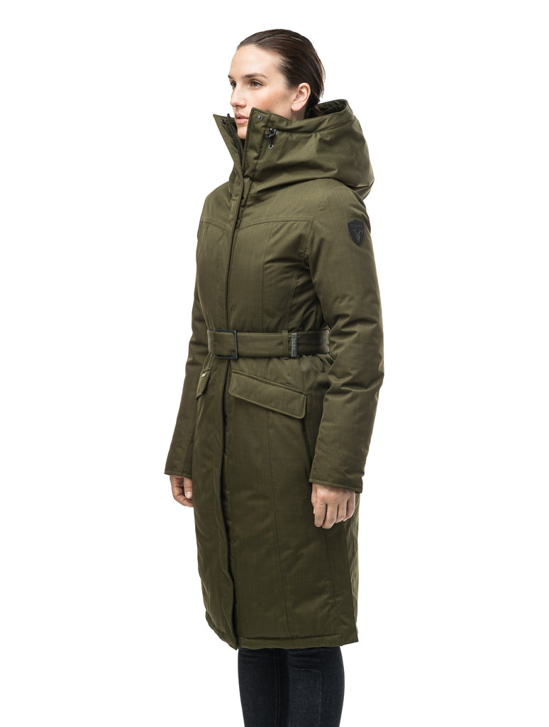 Women's maxi down filled parka with calf length hem in CH Fatigue| color