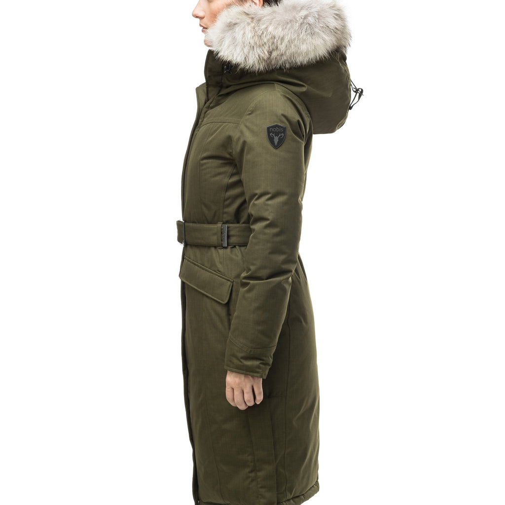 Women's maxi down filled parka with calf length hem in CH Fatigue | color
