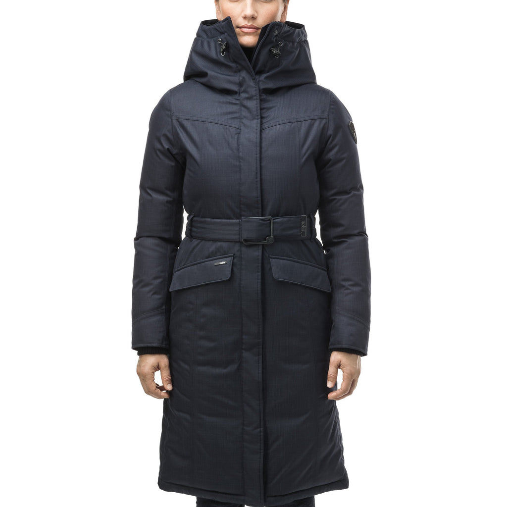 Women's maxi down filled parka with calf length hem in Navy | color