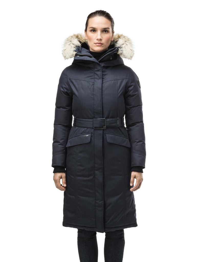 Women's maxi down filled parka with calf length hem in Navy| color