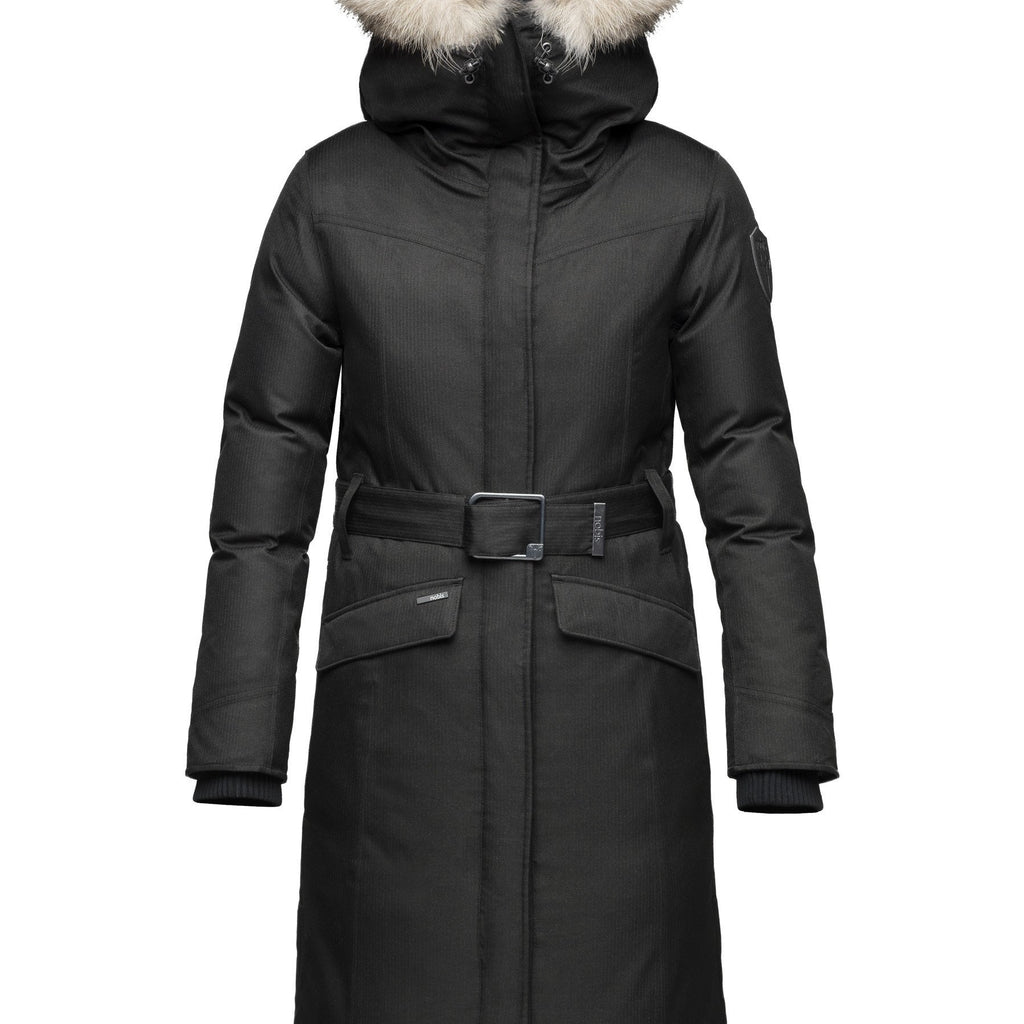 Women's maxi down filled parka with calf length hem in CH Black | color