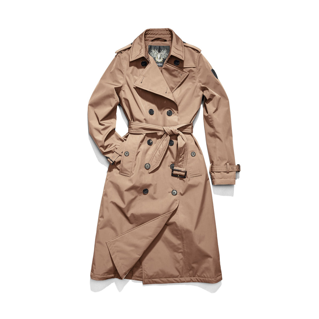 Women's knee length trench coat with removable belt in Fawn| color