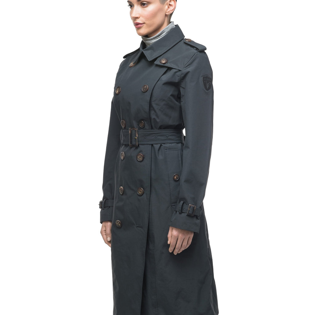 Women's knee length trench coat with removable belt in Black | color