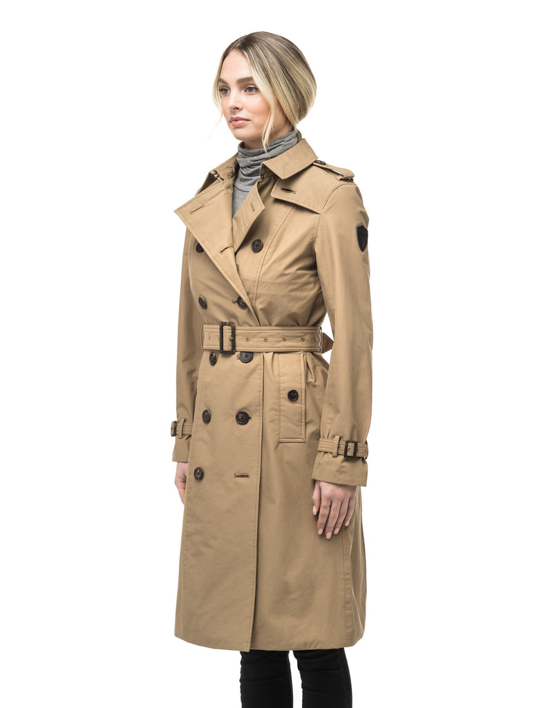 Women's knee length trench coat with removable belt in Cork| color