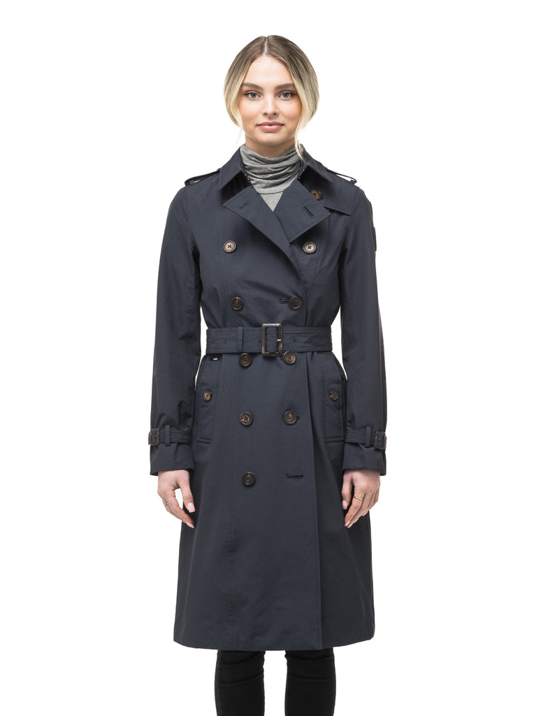 Women's knee length trench coat with removable belt in Navy| color