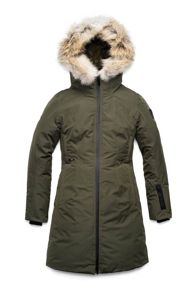 Ladies thigh length down-filled parka with non-removable hood and removable coyote fur trim in Fatigue| color