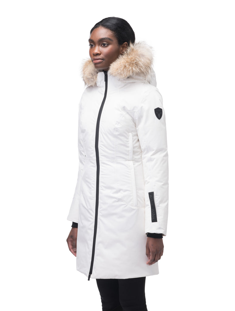 Ladies thigh length down-filled parka with non-removable hood and removable coyote fur trim in Chalk| color
