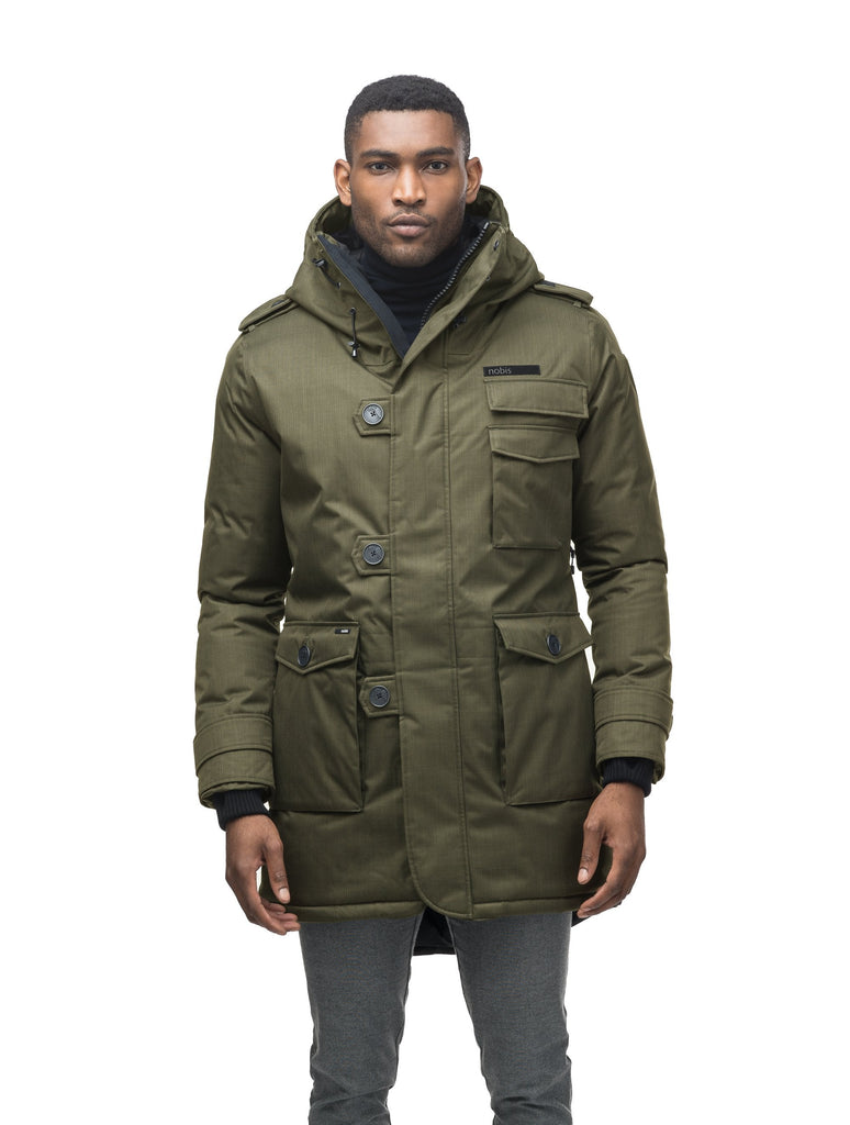Men's down filled parka with faux button magnet closures and fur free hood with a fishtail hemline in Fatigue| color