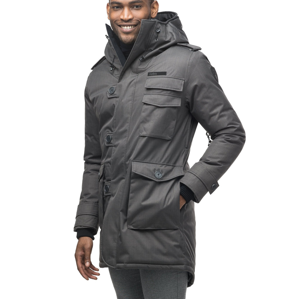 Men's down filled parka with faux button magnet closures and fur free hood with a fishtail hemline in Steel Grey | color