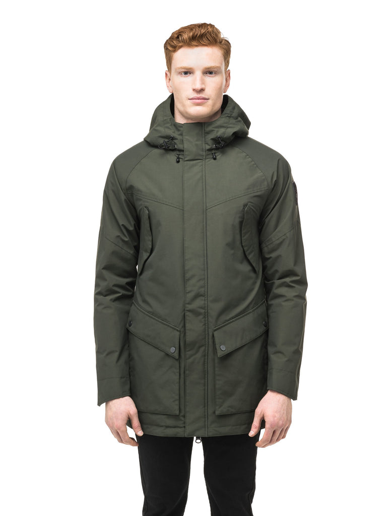 Men's hooded rain coat with hood in Dark Forest| color