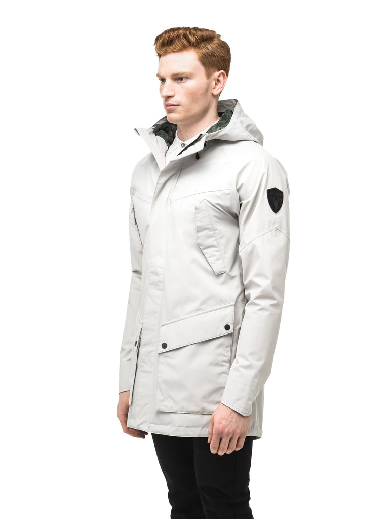 Men's hooded rain coat with hood in Light Grey| color