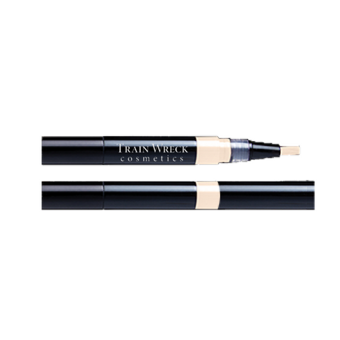 Train Wreck Cosmetics :  Matte Perfection touch-up veil  More than a concealer, this little darling is a lightweight matte finish, water resistant highlighter.    Use as a brow highlighter, brightens eyelids under brow-line  The brighter tone neutralizes darkness under the eye.