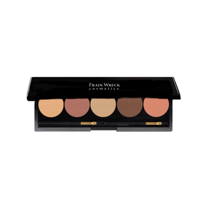 Train Wreck Cosmetics Revolutionary 5 Well Contour Makeup Palette /dark skin tone