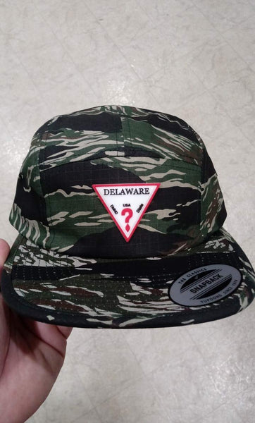 Delaware Camo 5 Panel Hat w/ Rubber Patch