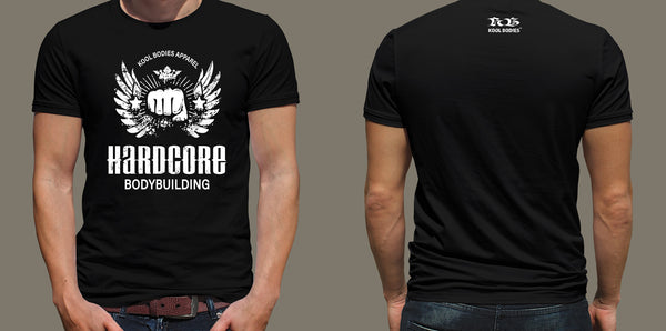 HARDCORE BODYBUILDING BLACK GRAPHIC TEE