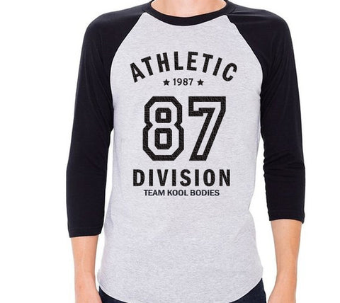 BASEBALL STYLE 3/4 SLEEVE RAGLAN   HEATHER/NAVY CREST 87