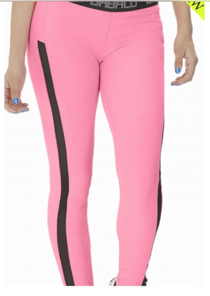SUPPLEX LEGGINGS - PINK with SEE THRU SIDE PANEL