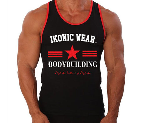 CLASSIC BODYBUILDING TANK TOP - WHITE/RED PRINT