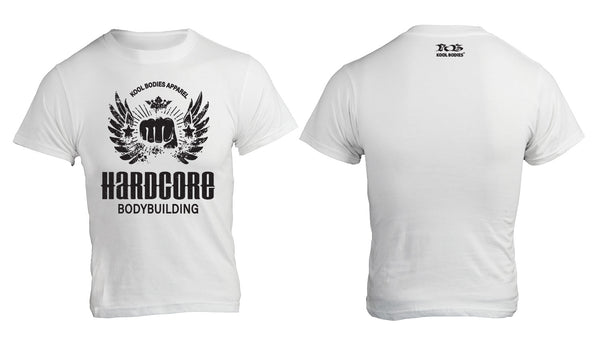 HARDCORE BODYBUILDING WHITE GRAPHIC TEE