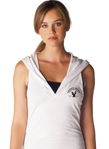 RACERBACK DRI-FIT SLEEVELESS HOODIE - WHITE