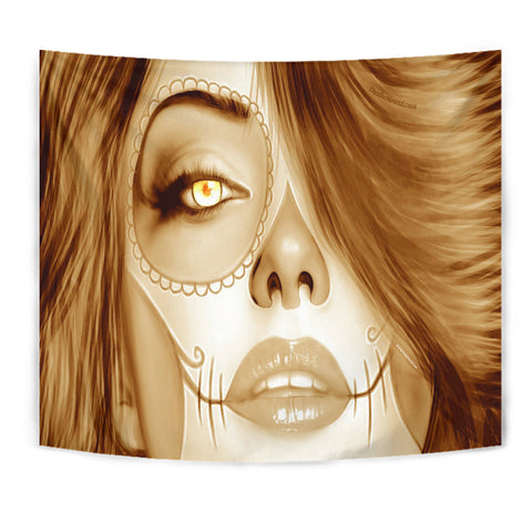 Calavera Fresh Look Design #3 Wall Tapestry (Honey Tiger's Eye) - FREE SHIPPING