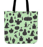 Halloween Icons Halloween Trick Or Treat Cloth Tote Goody Bag (Light Green)