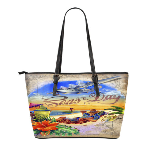 Jim Mazzotta Signature Line - Seas The Day - Small Leather Tote Bag!