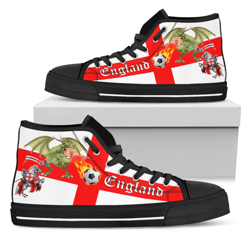 England Soccer Fan Women's High Tops - Black Soles - FREE SHIPPING