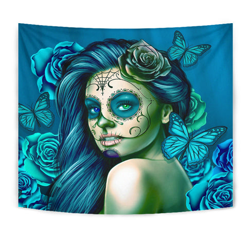 Calavera Fresh Look Design #2 Wall Tapestry (Turquoise Tiffany Rose) - FREE SHIPPING