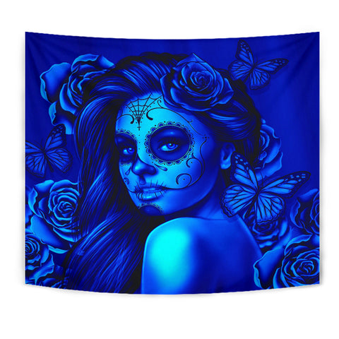 Calavera Fresh Look Design #2 Wall Tapestry (Blue Elusive Rose) - FREE SHIPPING