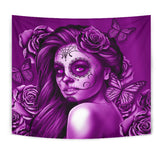 Calavera Fresh Look Design #2 Wall Tapestry (Purple Night Owl) - FREE SHIPPING