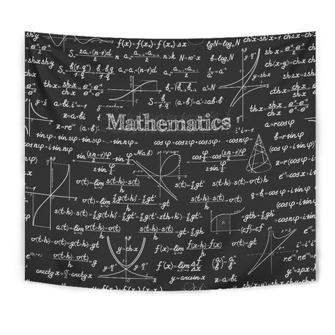 Mathematica Chalkboard Design #2 Tapestry Black - FREE SHIPPING