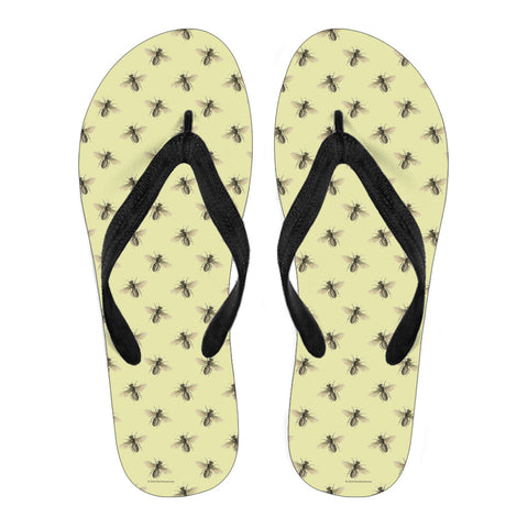 Honey Bees Design #1 Flip-Flops (Light Yellow)
