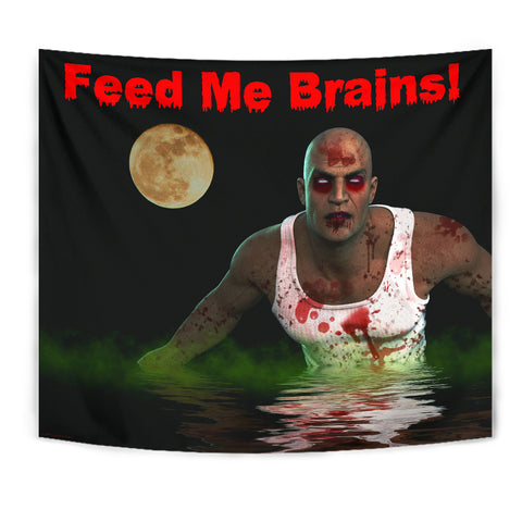 Feed Me Brains - Halloween Wall Tapestry - FREE SHIPPING