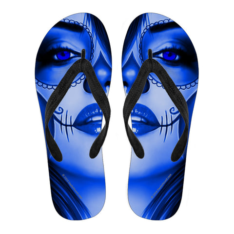 Calavera Fresh Look Design #3 Women's Flip-Flops (Blue Lapis Lazuli)