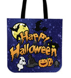 Happy Halloween Design #1 (Blue) Halloween Trick Or Treat Cloth Tote Goody Bag
