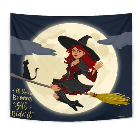 If The Broom Fits, Ride It - Halloween Wall Tapestry - FREE SHIPPING