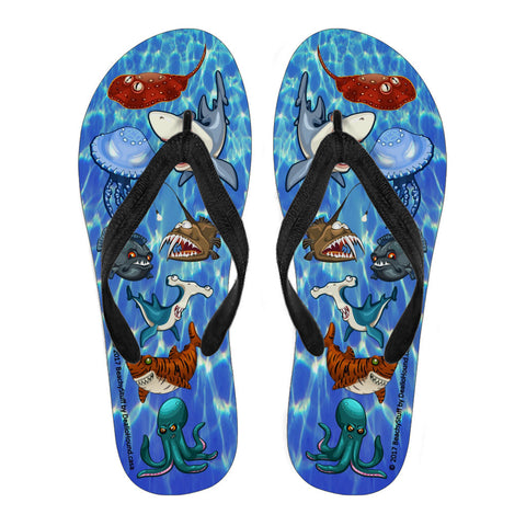 Scary Sea Life Flip-Flops