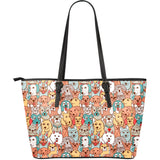 Crazy Dogs Collection Large Leather Tote