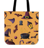 Witch's Stuff Halloween Trick Or Treat Cloth Tote Goody Bag (Orange)