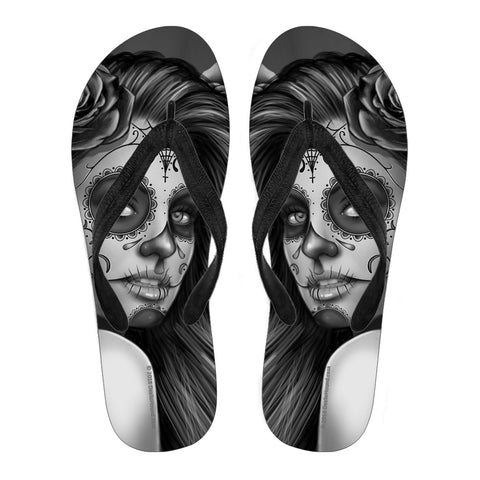 Calavera Fresh Look Design #2 Women's Flip-Flops (Vintage Retro)