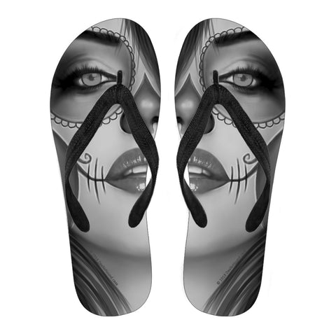 Calavera Fresh Look Design #3 Women's Flip-Flops (Vintage Retro)