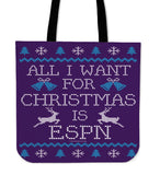 All I Want For Christmas Is ESPN Cloth Tote Bag!