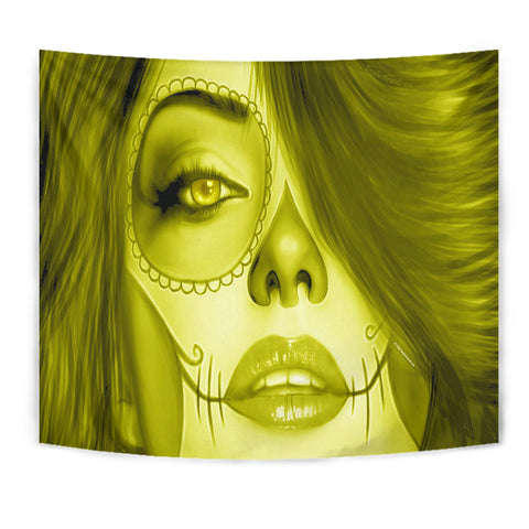 Calavera Fresh Look Design #3 Wall Tapestry (Yellow Chrysoberyl) - FREE SHIPPING