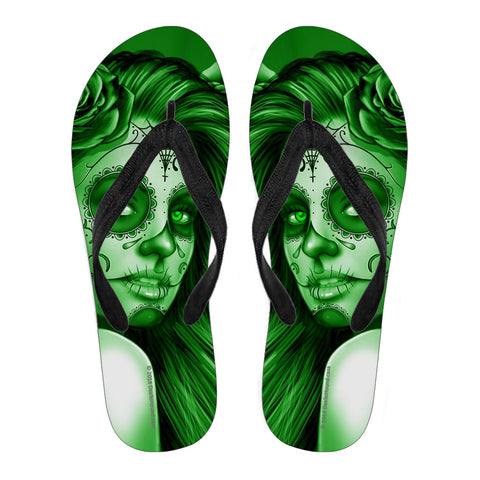 Calavera Fresh Look Design #2 Women's Flip-Flops (Green Lime Rose)