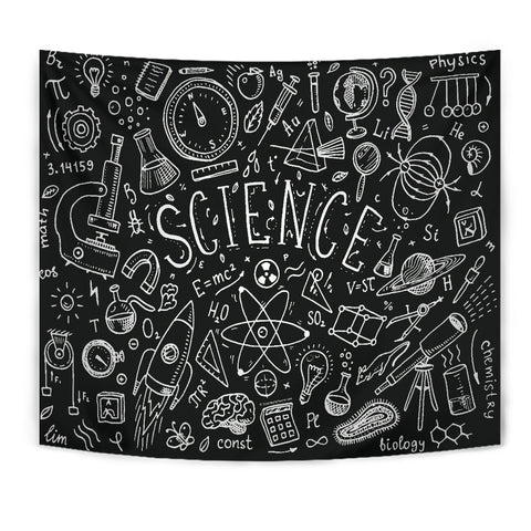 Science Chalkboard Design #1 Tapestry Black - FREE SHIPPING