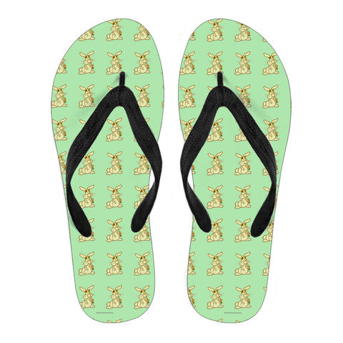 Yellow Rabbits Design #1 Flip-Flops (Light Green)