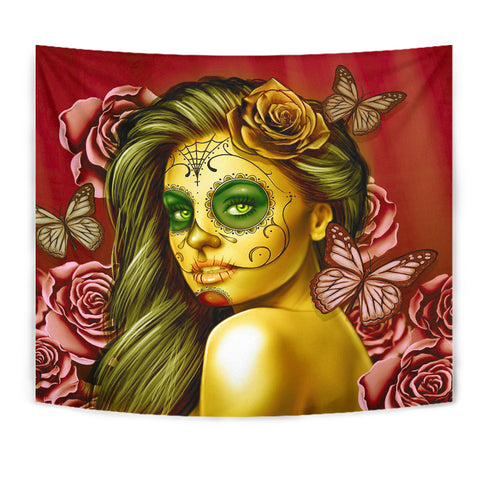 Calavera Fresh Look Design #2 Wall Tapestry (Yellow Smiley Face Rose) - FREE SHIPPING
