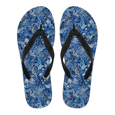 Nautical Design Flip-Flops (Sky Blue)