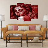 Calavera Fresh Look Design #2 4-Panel Haiku Canvas Wall Art  - FREE SHIPPING